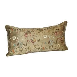 Bronze Ribbon Silk Brocade Bolster Pillow - 12x24