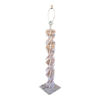 1970's Karl Springer Style Lucite Stacked Helix Spiral Staircase Floor Lamp For Sale