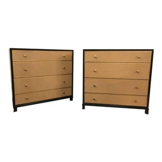 Tommi Parzinger Style Four-Drawer Leather Front Chests - A Pair
