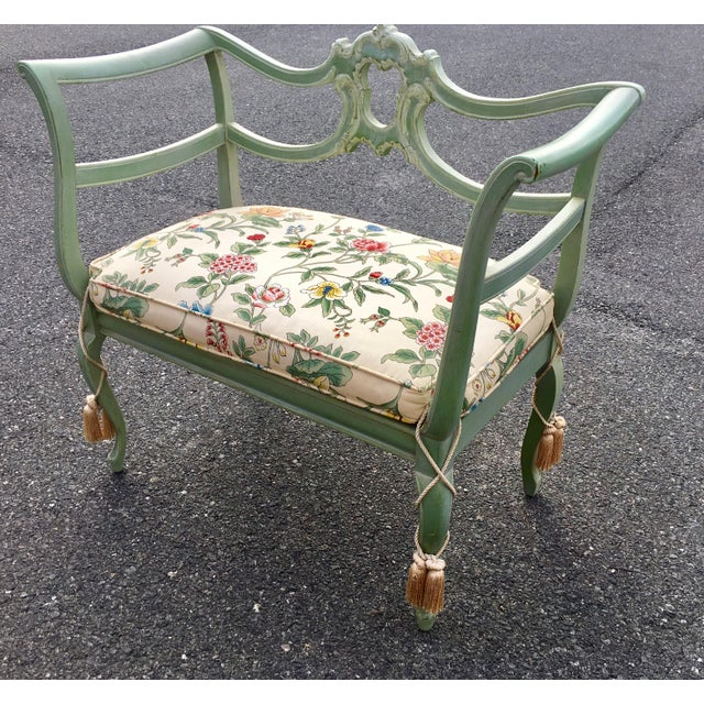 **Final Price** Antique Green French Provincial Carved Wood Small Bench  Settee - - Final Price** Antique Green French Provincial Carved Wood Small