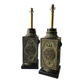 Large Pair of 1950s James Mont Style Asian Plaster Lamps on Wood Bases For Sale