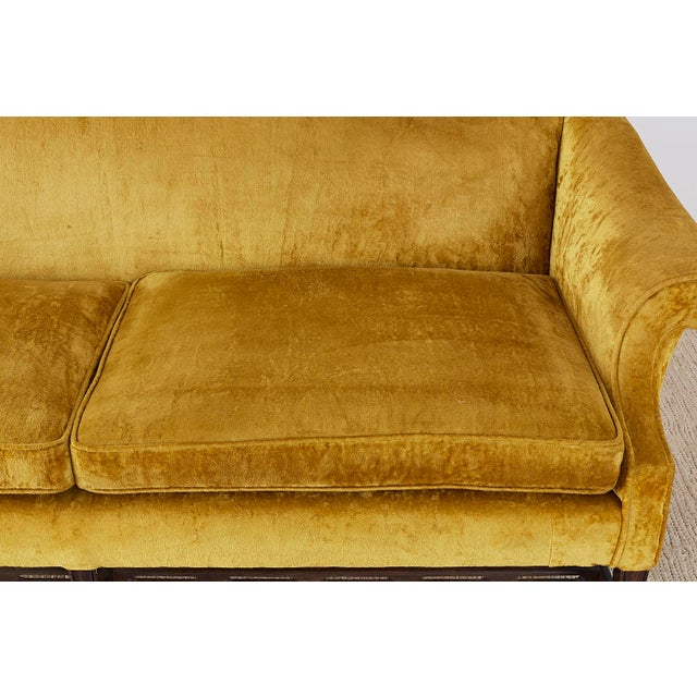Chinese Chippendale Style Citron Velvet Camel Back Sofa For Sale In San Francisco - Image 6 of 13