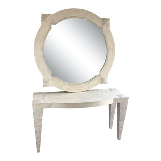 Casa Bisque Tessellated Stone Console and Mirror Set - 2 Pieces For Sale