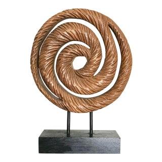 Organic Wood Swirl Sculpture on Black Stand