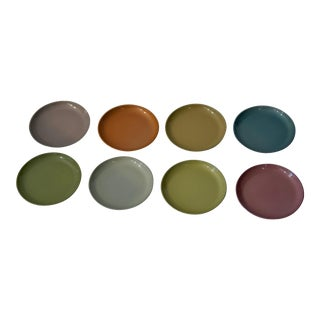 Mid 20th Century Metal Multi-Colored Coasters - Set of 8 For Sale
