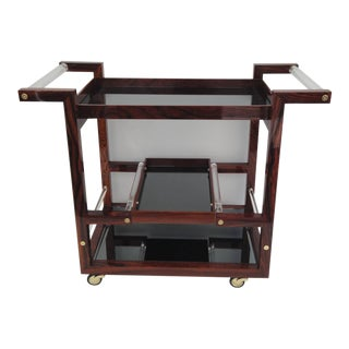 Art Deco Style Solid Rosewood Rolling Bar Cart For Sale
