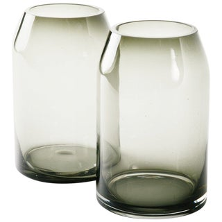 Pair of Danish Modern Smoked Glass Sommerso Vases For Sale