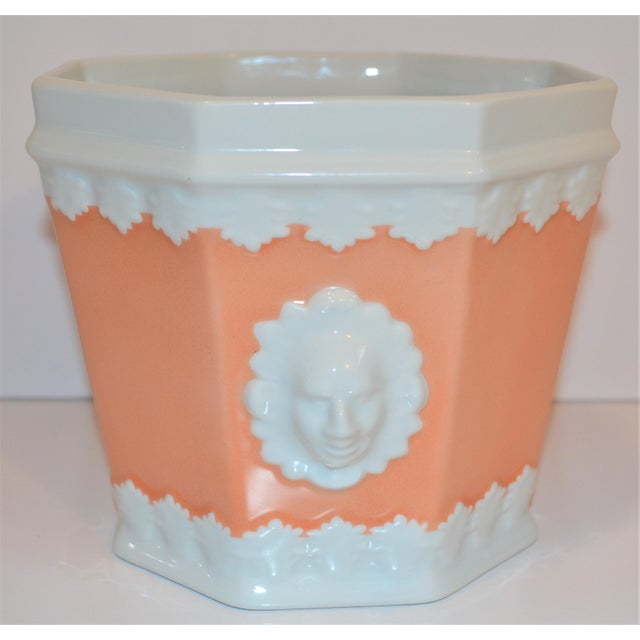 Orange Vintage Apricot & White Mottahedeh Porcelain Cachpot For Sale - Image 8 of 9