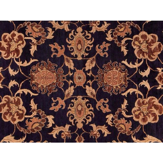Traditional Kafkaz Peshawar Marianne Blue & Dark Gold Wool Rug - 10' x 14' For Sale - Image 3 of 7