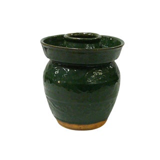 Traditional Chinese Green Glazed Ceramic Container For Sale
