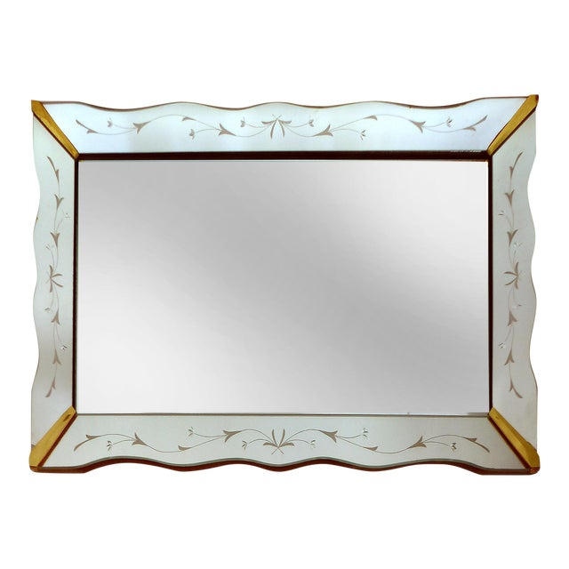 Image of 1940's Floral Cut Scalloped Mirror