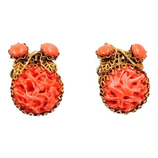 1960s Miriam Haskell Faux-Coral Earrings For Sale