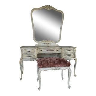 Louis XV Style French Vanity & Tufted Bench
