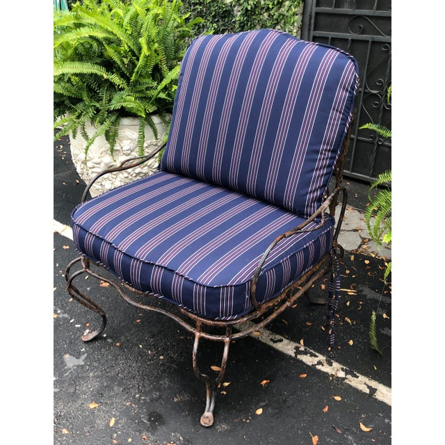 Rose Tarlow Wrought Iron Outdoor Lounge Chairs - a Pair For Sale - Image 9 of 10