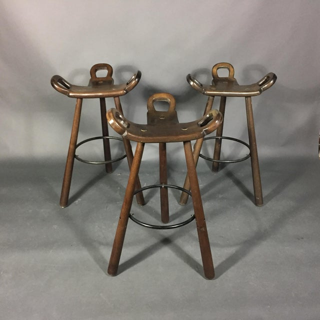 Three Marbella Bar Stools, Sergio Rodriquez, Spain 1970s For Sale - Image 10 of 10