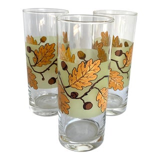 Vintage Ocean Thailand Oak Leaves and Acorns Bar Glasses - Set of 3 For Sale