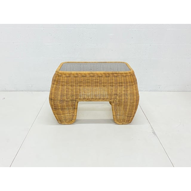 Mid-Century Modern Hand Made Sculptural Wicker Rattan Side Tables - a Pair For Sale - Image 4 of 13