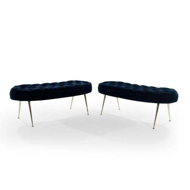 Metal Tufted Benches in Deep Blue Mohair (Pair Available) For Sale - Image 7 of 12