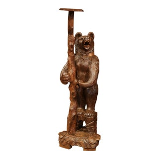 19th Century Swiss Carved Black Forest Bear Umbrella Stand with Glass Eyes