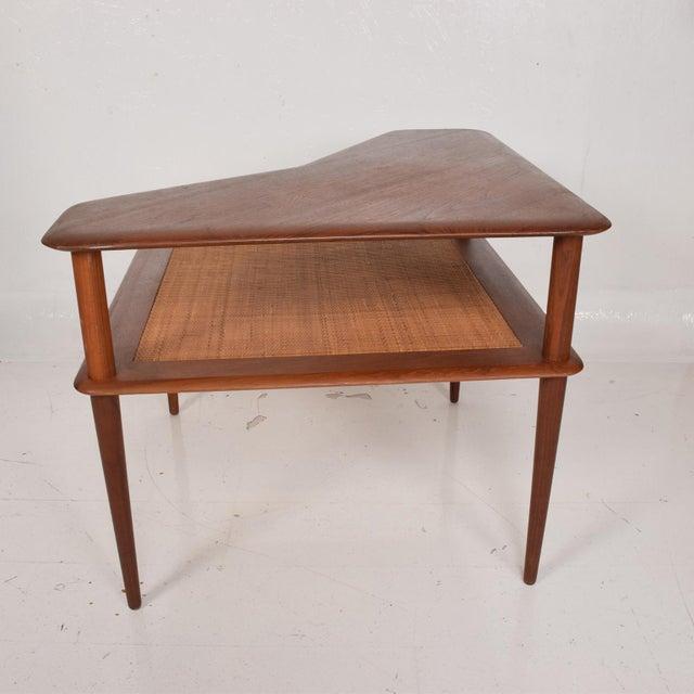 France & Sons Peter Hvidt Corner Teak Cane Table Danish Modern Daverkosen For Sale In San Diego - Image 6 of 9