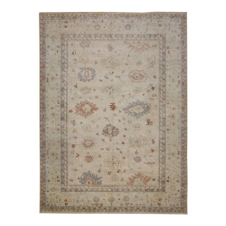Oushak Design Rug with Transitional Style in Light Colors For Sale