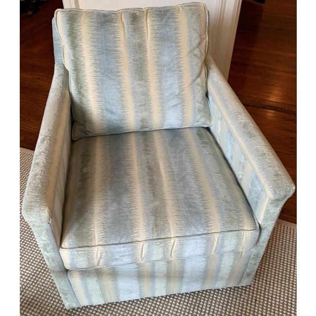 Brunschwig & Fils Bromo Velvet Upholstered Swivel Chair For Sale - Image 10 of 10