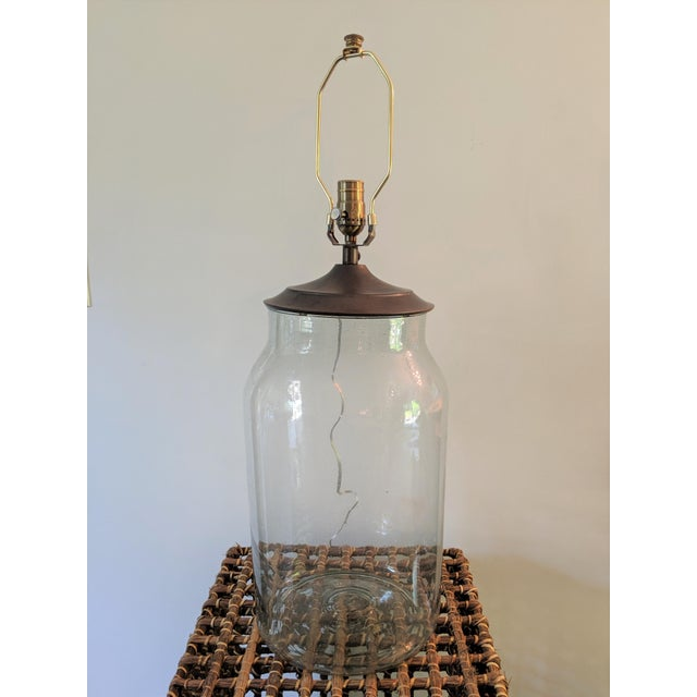 Seeded Blown Glass Lamp With Blue Striped Linen Shade For Sale - Image 4 of 7