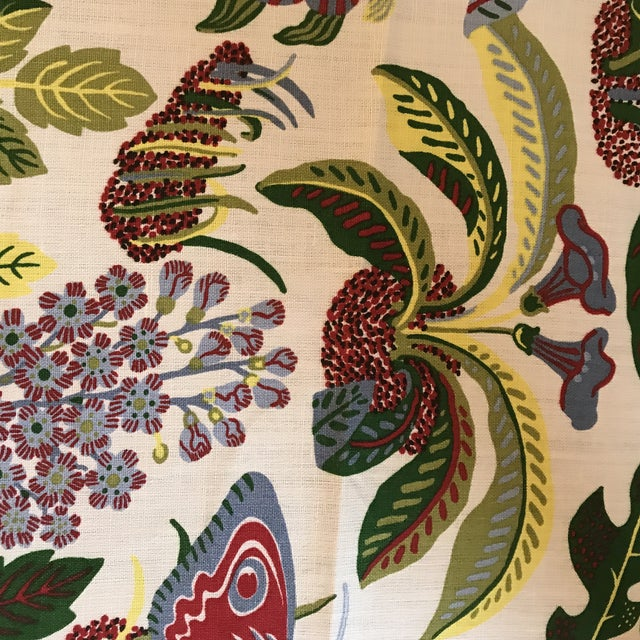 Fabric Schumacher Exotic Butterfly Print Fabric 13 1/2 Yards For Sale - Image 7 of 10