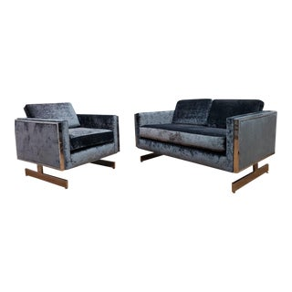 Mid Century Modern Milo Baughman Sled Leg Sofa and Lounge Chair Newly Upholstered - 2 Piece Parlor Set For Sale