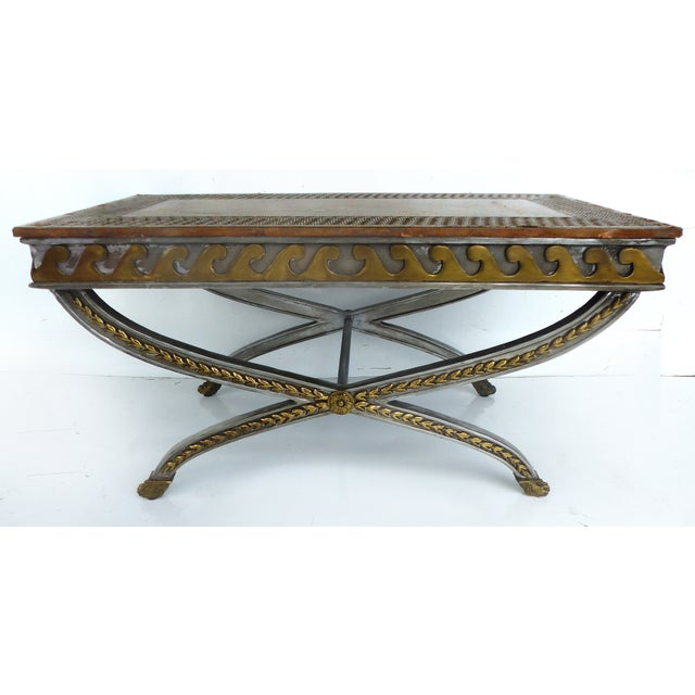 Stainless, Brass & Leather Coffee Table - Image 2 of 11