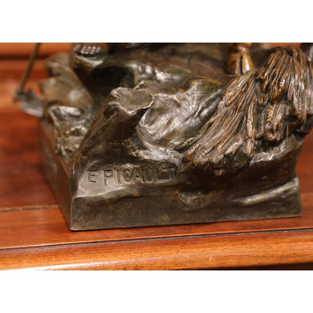 Late 19th Century 19th Century French Patinated Spelter Sculpture with Bull Signed E. Picault For Sale - Image 5 of 11