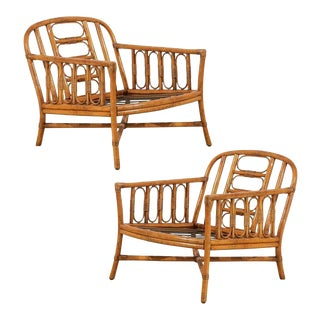 Lovely Pair of Vintage Loungers by Ficks Reed For Sale