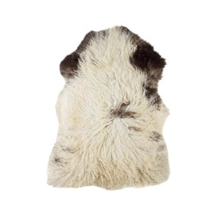 "Contemporary Long Wool Sheepskin Pelt, Handmade Rug - 1'11""x3'5"" For Sale"