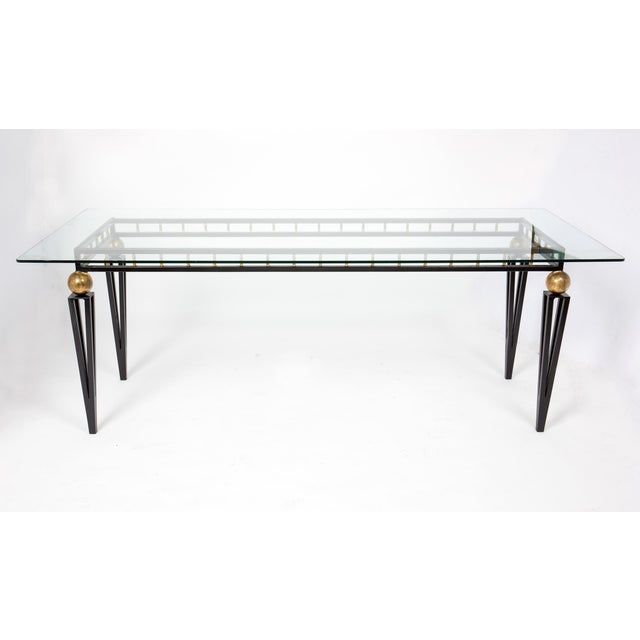 French Art Deco Forged Iron Dining Table - Image 3 of 10