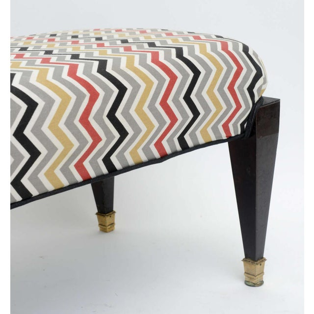 1930s French Neoclassic Style Ebonized and Brass Bench, Maison Jansen For Sale - Image 5 of 9