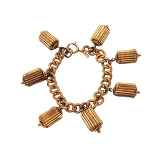 1940s Monet Jewelers Barrel Bead Charm Bracelet For Sale