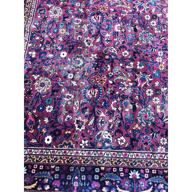 Pink Large Early 20th Century Antique Persian Distressed Handmade Rug For Sale - Image 8 of 12