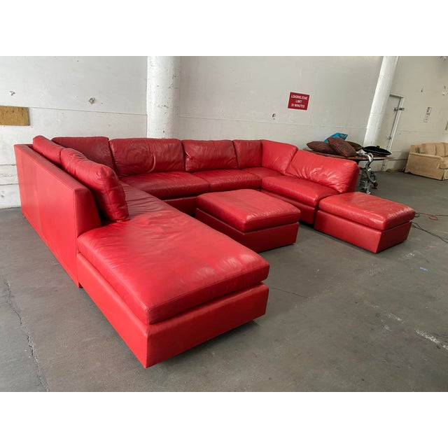 Belmar Custom Design 5-Piece Leather Leipzig Sectional For Sale In San Francisco - Image 6 of 13