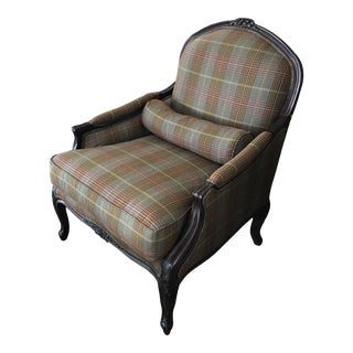 Ralph Lauren Carved Mahogany and Plaid Upholstered Club Chair For Sale