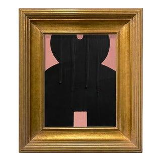 Ron Giusti Mini Kokeshi Doll Head Blush and Black Acrylic Painting, Framed For Sale