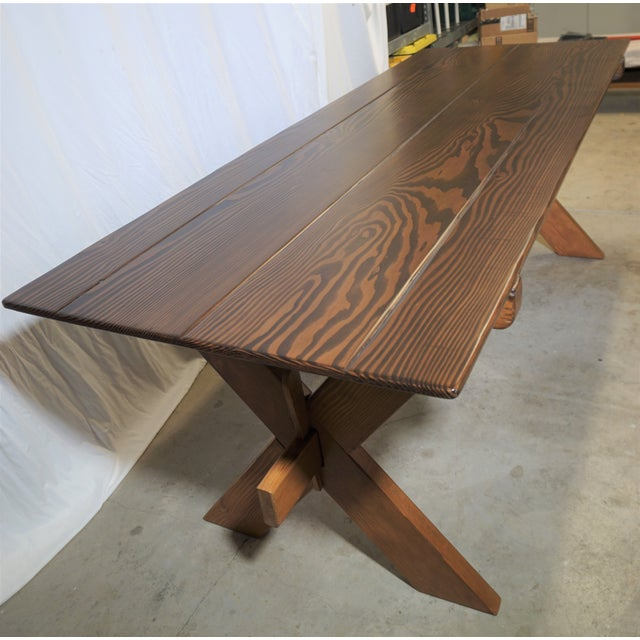 Beautiful farm style cross leg trestle dining table handcrafted from Sonoma coast milled and hand selected Douglas Fir....