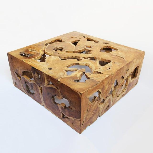 Teak Root Coffee Table Square: Teak Root Organic Coffee Table