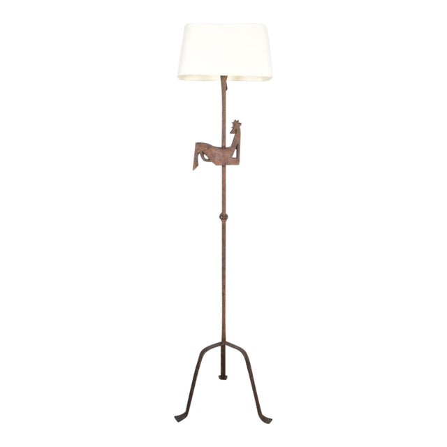 Jean Touret for Atelier Marolles Wrought Iron Floor Lamp, France, Circa 1955 For Sale