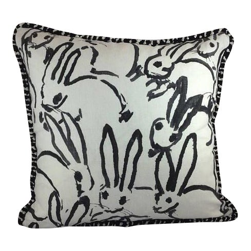 "Hunt Slonem ""Bunny Hutch"" in Black & White Pillows - a Pair - Image 5 of 5"
