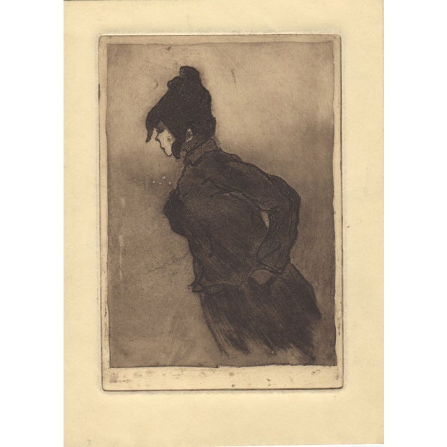 Rare 19th c. etching by listed French artist Henri Boutet. This finely detailed etching shows a woman in an overcoat. Deep...