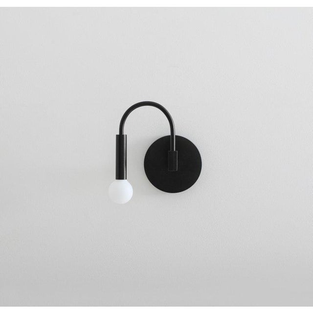 Current Arch Contemporary Wall Sconce in Matte Black With Satin Glass Globe For Sale - Image 4 of 8