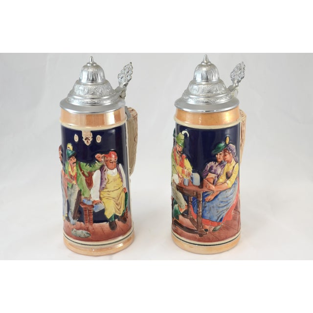 Black Forest Oktoberfest Ceramic & Pewter Lidded Beer Steins - a Pair For Sale - Image 3 of 9