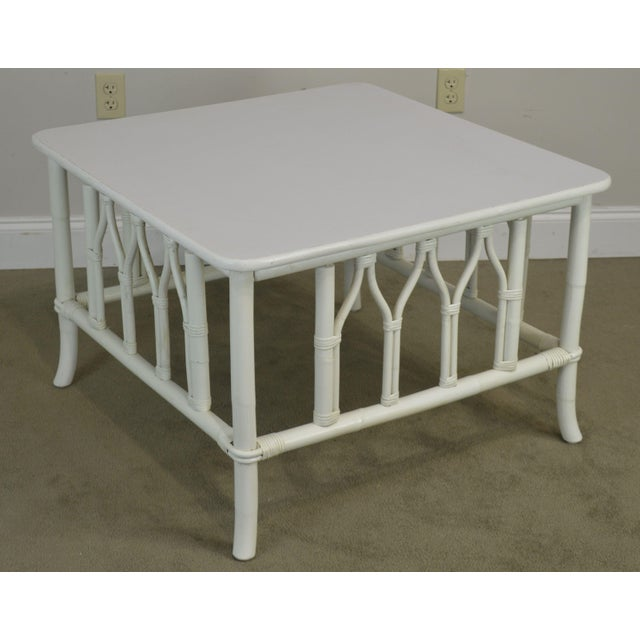 High Quality Painted White Rattan Low Table by Ficks Reed Not Labeled