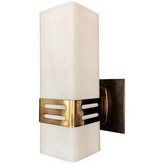 Stilnovo Single Sconce in Opaline Glass and Brass Band, 1950s For Sale