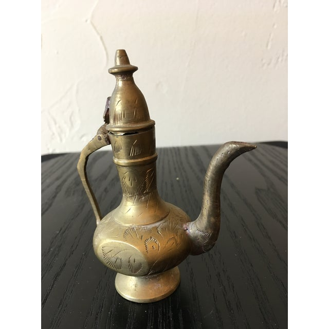 Mid 20th Century Mid-20th Century Islamic Hinged Lidded Etched Brass Pitcher For Sale - Image 5 of 10
